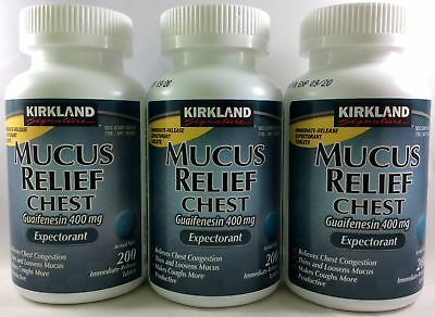 3pk Kirkland Mucus Relief Chest Guaifenesin 400mg Expectorant 200ct (600 total)
