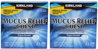 4pk Kirkland Mucus Relief Chest Guaifenesin 400mg Expectorant 200ct (800 total)