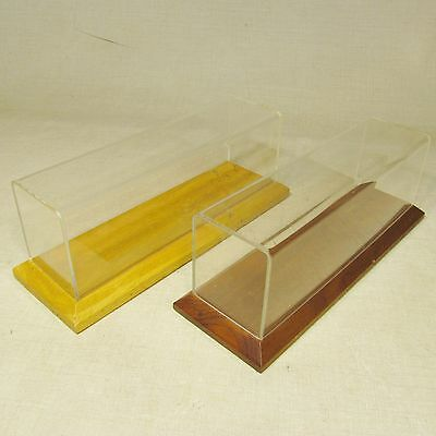 Hotchkiss Train Ho Gauge Acrylic & Wood Display Case Lot Of 2 10.75 Inches Long