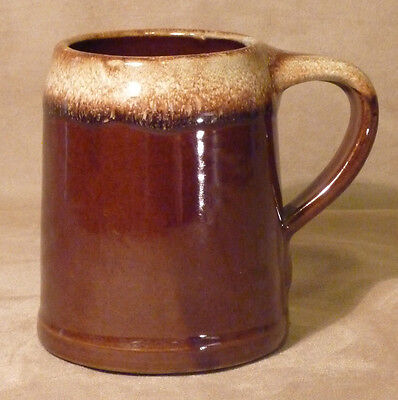 Vintage Western Stoneware Brown Drip Glaze Coffee Cup Mug Stein Maple Leaf USA