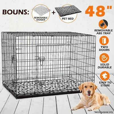 "Portable 48"" Collapsible Cage Dog Metal Crate Kennel Pet Bed Removable Divider"
