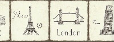 Wallpaper Border London Paris Rome Famous Landmarks