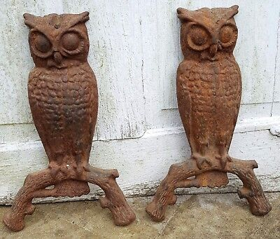 Antique Cast Iron Andirons Owl Front Decoration part only Very Rusty Set of 2