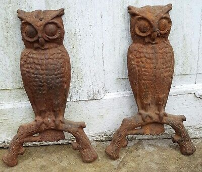 Antique Cast Iron Owl Andirons Front Decoration part only Very Rusty Set of 2