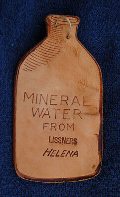 RARE antique HELENA MONTANA advertising leather tag - LISSNERS Mineral Water