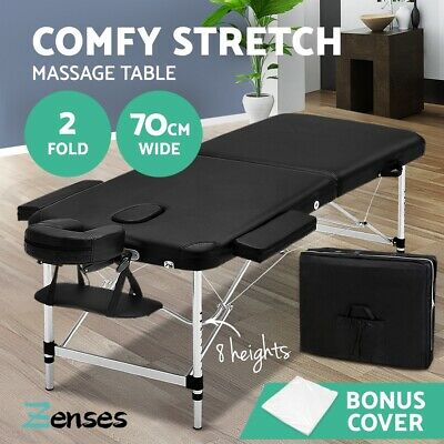 Zenses Massage Table Portable Aluminium 3 Fold Beauty Bed Therapy Waxing White