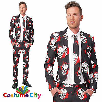 Adult Mens Suitmeister Bloody Skulls Halloween Suit Fancy Dress Costume Outfit