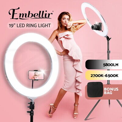 """19"""" 5500K LED Ring Light Dimmable Diva With Stand With Stand For Phone Camera"""