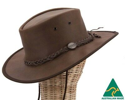 Barmah Foldable Australian Leather Outback Hat Made in Australia.