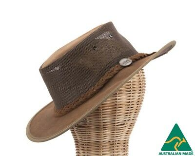Barmah Suede Leather Australian Cooler Outback Hat Made in Australia. Foldable