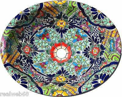 Mexican Bathroom Talavera Sink Handmade Ceramic Mexico # 205