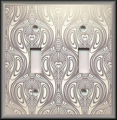 Metal Light Switch Plate Cover - Antique Art Nouveau Design Cream Silver Grey