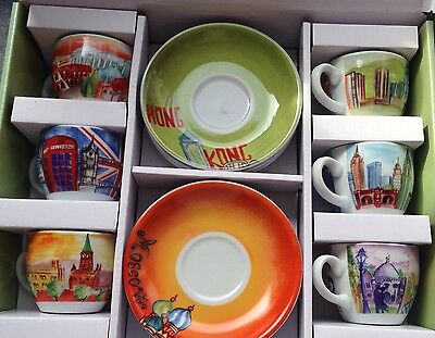 Lovely TOGNANA Espresso Coffee Set Of 6 cups & saucers Porcelain- CITY