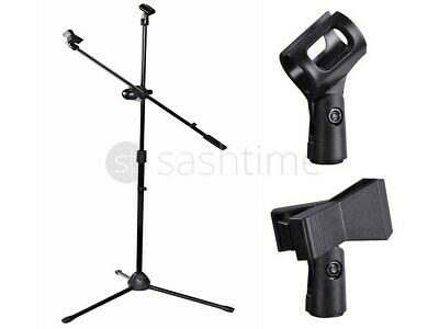Professional Boom Microphone Adjustable Stand Holder Tripod Black + 2 Mic Clips