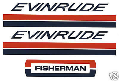 Evinrude Outboard Hood Decals 4/6 hp 1960's Fisherman
