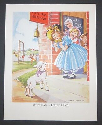 Platt & Munk Vintage Kids Book Art EULALIE Mary Had a Little Lamb