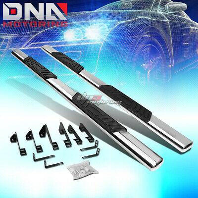 "For 01-16 Silverado Crew Cab Stainless 5""Chrome Oval Side Step Nerf Bar Kit/Rail"