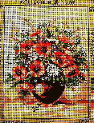 RED POPPIES IN CERAMIC VASE Needlepoint Tapestry Canvas