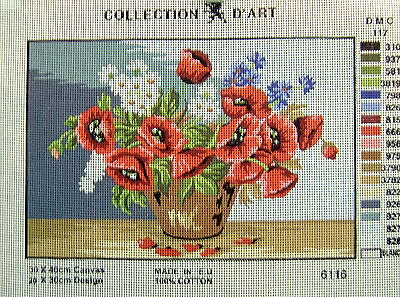 RED POPPIES, WHITE DAISIES Needlepoint Tapestry Canvas