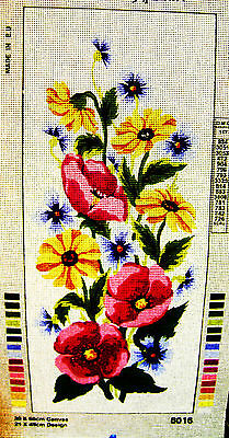 PURPLE, YELLOW, BLUE FLOWERS Needlepoint Tapestry Canvas