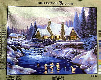 WINTER LAKE & COTTAGE SNOW SCENE  Needlepoint Tapestry Canvas