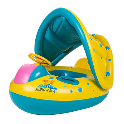 Thickness Pool Inflatable Safe Swim Ring Float Canopy Sunshade for Baby Child
