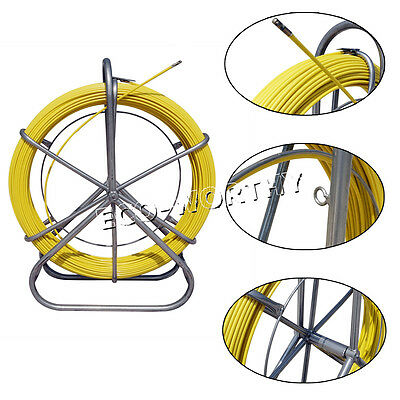 6MM 130M Duct Rod Fiberglass Pulling Tip Cable Running Fish Tape Puller Tool New