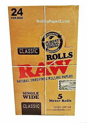 Raw Rolling Papers Full Box/24 Rolls Raw Classic Single Wide 5 meter length