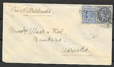 New South Wales covers 1899 cover numeralCANC 329 to Utrecht