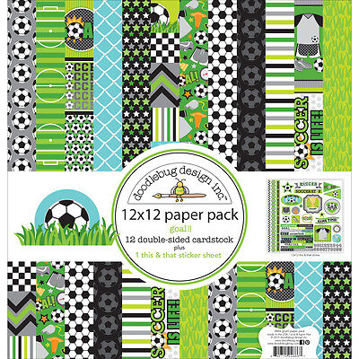 """""""Doodlebug Double-Sided Paper Pack 12""""""""X12""""""""-Goal!!"""""""