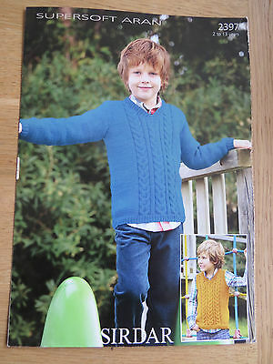 Sirdar Supersoft Aran - Pattern No 2397 - Boy's Sweater and Tank Top - Age 2-13