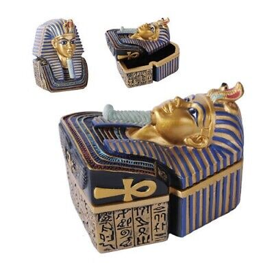 "Egyptian Ancient Pharaoh King Tut Box Jewelry Trinket Keepsake Container 4.75""L"