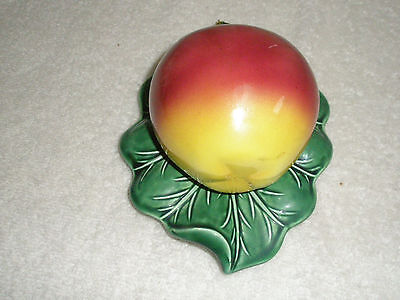 Vintage Porcelain Wall Pocket Large Apple on Leaf Made in Japan