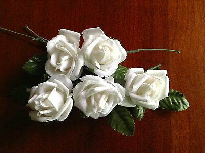 """Vintage Millinery Flower Rose 5pc Lot Cotton 1 1/8"""" Soft White for Hair Crown UA"""