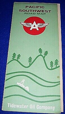 Vintage 1963 Pacific Southwest Flying A Road Map-Tidewater Oil Company