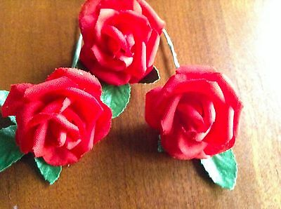 """Vtg Millinery Flower Rose 5pc Lot 1 1//8/"""" Cotton Pick Red White Blue or Pink UA"""