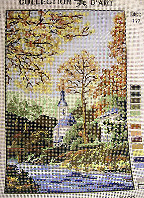 CHURCH BY THE RIVER PASTORAL SCENE Needlepoint Tapestry Canvas