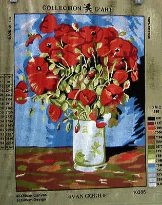 VAN GOGH RED POPPIES Needlepoint Tapestry Canvas