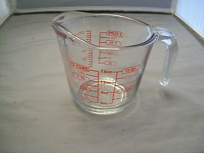 Anchor Hocking 2 Cup Red Lettering Measuring Cup Model 21