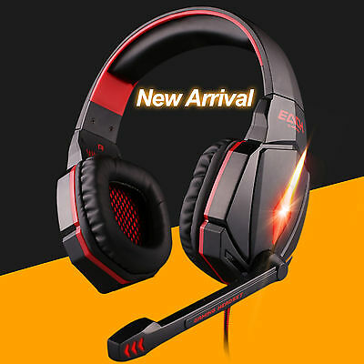 G4000 Super Quality Surround Sound Gaming PC laptop Headset Headphone w/Mic Red