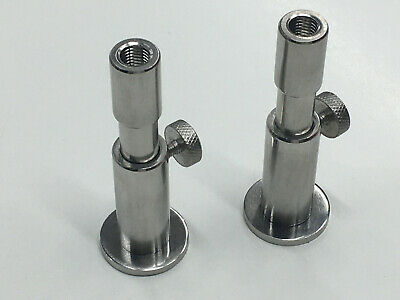 "2 x Stainless Steel Stage stands with locking nuts, with 2 x 3"" inserts. Carp"