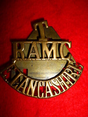 T/RAMC/E.LANCASHIRE Brass Shoulder Title Badge