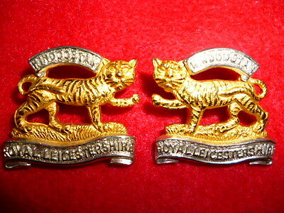 The Leicestershire Regiment Officer's Silver & Gilt Collar Badge Pair