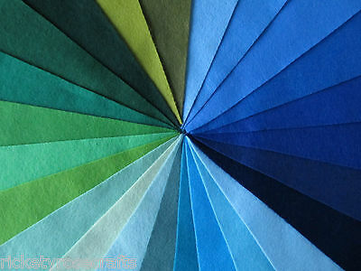 """WOOL MIX FELT 9"""" SQUARE BLUE/GREEN - HALF PRICE WHEN YOU BUY 5 (ebay.co.uk only)"""