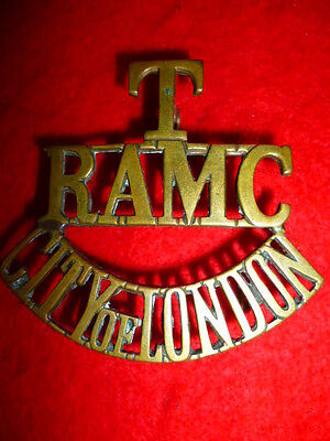 T/RAMC/CITY OF LONDON Brass Shoulder Title Badge