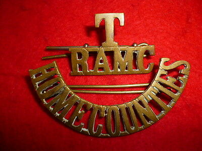 T/RAMC/HOME COUNTIES Brass Shoulder Title Badge