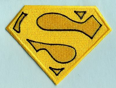 """3x4"""" Small Embroidered Yellow & Black Christopher Reeve Superman Cape Logo Patch"""