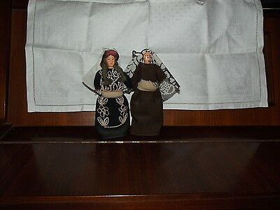 Lot X 2 Arab Jordan Muslim Dolls Couple Hand Painted Israel