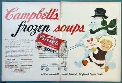 21 by 14 Original 1956 Campbell's Soup Ad FEATURING CAMPBELL'S FROZEN SOUPS