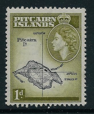 1960 PITCAIRN ISLANDS SG19b BLACK & LIGHT OLIVE GREEN 1d FINE MINT MNH/MUH